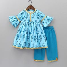 Pre Order: Blue Printed Kurta And Palazzo Pant Girls Dresses Sewing, Stylish Dresses For Girls, Dresses Kids Girl, Baby Dresses, Dresses Dresses, Summer Dresses, Wedding Dresses, Kids Party Wear Dresses, Kids Dress Wear