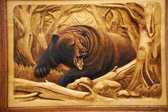 "Treutskjæring ""BJØRN I SKOGEN"" Wood Carving Patterns, Wood Carving Art, Wood Carvings, Systema Martial Art, Russian Mythology, Art Studio Storage, Hunting Art, Plaster Art, Wooden Art"