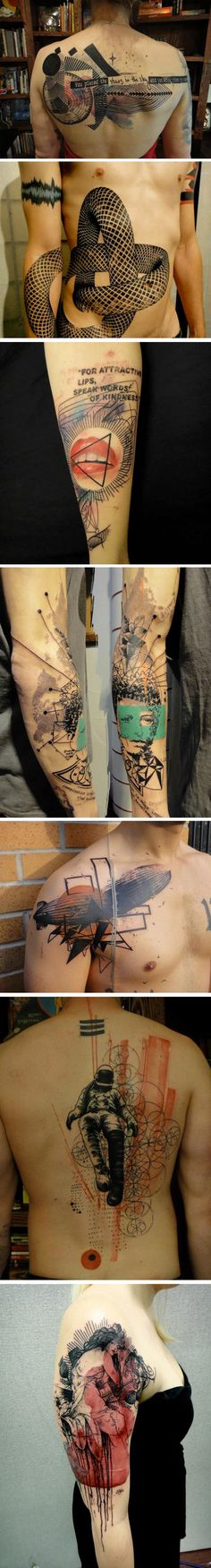 Impressionist tattoos   Artist : Xoïl His studio, Needles Side, is located in Thonon les Bains, France
