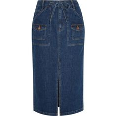 Madewell Denim skirt ($135) ❤ liked on Polyvore featuring skirts, blue, blue denim skirt, front slit skirt, blue skirt, fitted skirts and button skirt