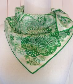 Vintage Kelly Green and White Flowers Scarf with Hand Rolled Hem by Oldtonewjewels on Etsy