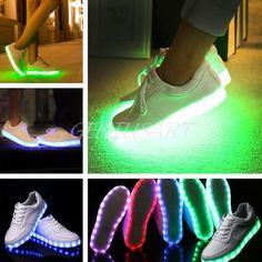 Unisex luz LED Con Cordones Luminoso Zapatos Ropa deportiva Casual Zapatillas