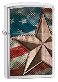 Display your patriotism with this brushed chrome windproof lighter. This lighter features the American flag with a textured design and a retro star that gives the lighter a country flare.  Each Zippo Windproof lighter is made in America and comes with a lifetime guarantee! #Zippo #Lighter  #MadeinUSA #AmericanMade #MadeInAmerica