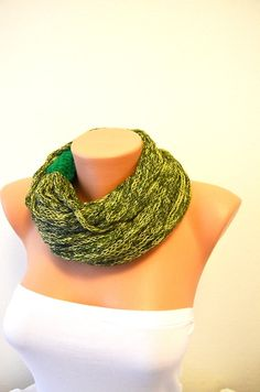 SCARF Yellow and Green wool chain necklace  Infinity  by NesrinArt