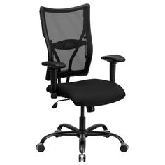 Offex Hercules Series Big and Tall Black Mesh Office Chair with Arms [OF-WL-5029SYG-A-GG]