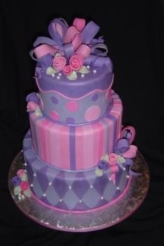 Pink and Purple Tiered Cake Entry