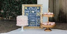 Birthday Cake with Macarons! by Sweet Gems Bakery / Tiered Gold Cake Stand by Opulent Treasures / Photo by Elizabeth Jones Photography