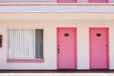 Pink Motel Room Doors Print By Fuse