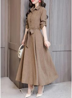 Solid Long Sleeves A-line Midi Casual Dresses Source by Dresses casual Look Fashion, Hijab Fashion, Fashion Dresses, Runway Fashion, Stylish Dresses, Nice Dresses, Elegant Dresses, Summer Dresses, Sexy Dresses