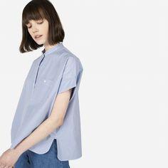 Everlane Striped Cotton Poplin Square Shirt in White/Blue Stripe
