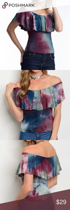 Multicolor Tie Dye Off Shoulder Ruffle Top Off Shoulder Multi Print Fitted Ruffled Top  Available in Small, Medium, and Large  95% Rayon 5% Spandex  Tie Dye Pattern will vary on each top Tops Blouses