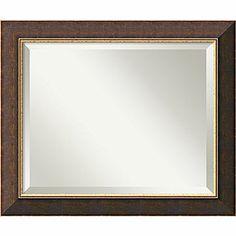 Amanti Art 24in. x 20in. Old World Medium Wall Mirror, Dark Brown/Antique Gold