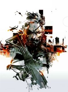 View an image titled 'Big Boss Illustration' in our Metal Gear Solid V art gallery featuring official character designs, concept art, and promo pictures. Big Boss Metal Gear, Snake Metal Gear, Metal Gear Solid Series, Metal Gear V, Video Game Posters, Video Game Art, Cry Anime, Anime Art, Metal Gear Games