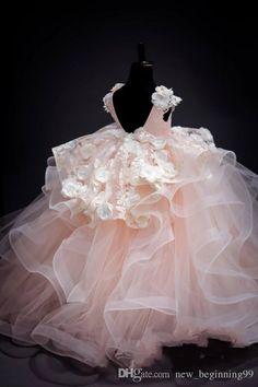 V-Neck Applique Handmade Flowers Floor Length Ball Gown Pearls Tired Skirt 2018 Luxurious Flower Girl Dresses
