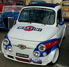Fiat 500, Fiat Cars, Martini Racing, Fiat Abarth, Small Cars, Custom Cars, Cars And Motorcycles, Vintage Cars, Cool Cars