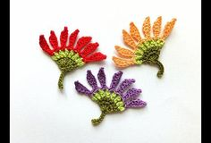 I have crocheted flowers appliques from cotton thread in red, peach pink and purple colors with green stem.  Use them as: ♥ gift decorations; ♥ party decorations; ♥ cardmaking,...