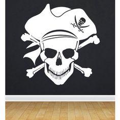 Huesos calavera pirata capitanes Personalizado Niño Habitación Pared Calcomanías de Vinilo Arte Calcomanías