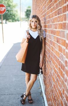 A slip dress is an ideal way to achieve a classic girly style. Wear a dress such as this with or without a tshirt underneath depending on the vibe you're going for; perhaps with a tee for a more casual style. Via Cara Loren. Tee: Forever21, Dress: Asos.