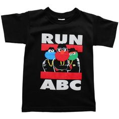 Sesame Street Run DMC Style Boys T-Shirt (Medium) Black ($5.64) ❤ liked on Polyvore featuring shirts and tops