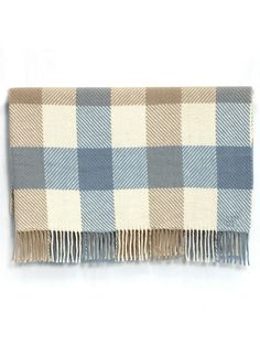 Pale Blue Merino Twill Check Throw Our Hearty Irish Has Been Woven With