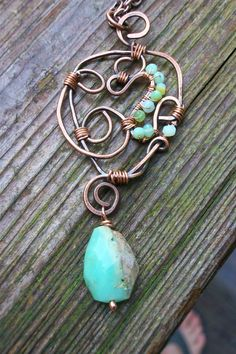 copper wire work and peruvian opal necklace