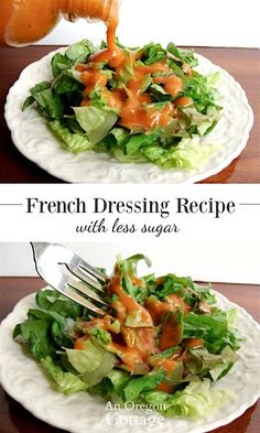 A super easy lower sugar American-style French dressing for salads that is sweetened with honey and includes fresh onions for a brighter flavor. Healthy Sauce For Chicken, Healthy Sauces, Quick Healthy Snacks, Healthy Eating, Healthy Recipes, Healthy Foods, Salad Dressing Recipes, Salad Recipes, Salad Dressings