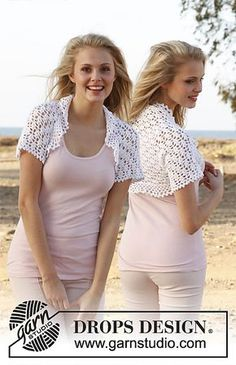 Ravelry: 148-8 Gwendolyn - Bolero with lace pattern in Cotton Viscose pattern by DROPS design