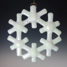 CRYSTAL White Iridized Snowflake Fused Glass Ornament by TheWoCo