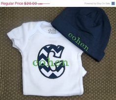 ON SALE Baby Boy Onesie and Hat Gift Set by sugarysnailsshoppe, $13.60
