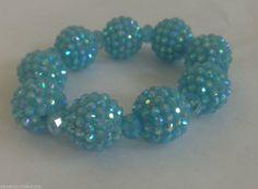 "Blue Beaded Bracelet Stretch Disco  Design Spring Summer Fits 5-7"" Ladies Wrist  #Handmade #BeadedStrand"