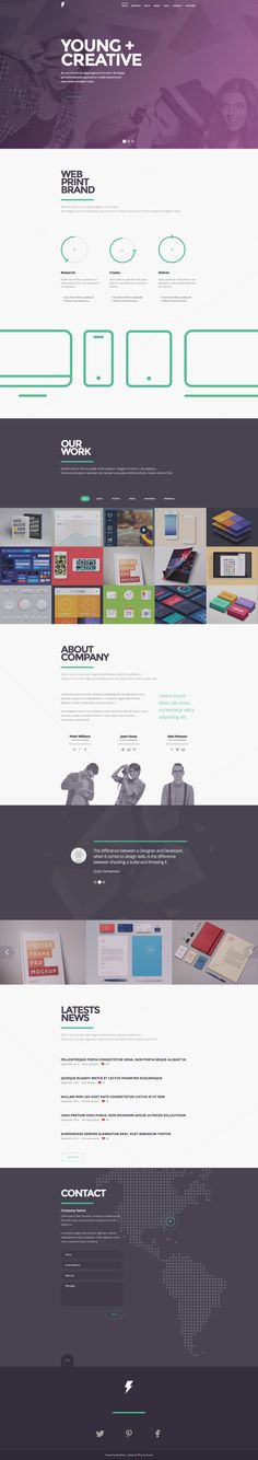 I'm worried about the amount of purple, but the cleanness of the content areas saves it. Sensa - One Page Responsive WordPress Theme on Behance