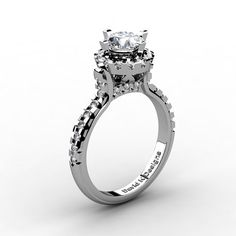 French 14K White Gold 1.0 Ct White Sapphire от DavidKDesigns