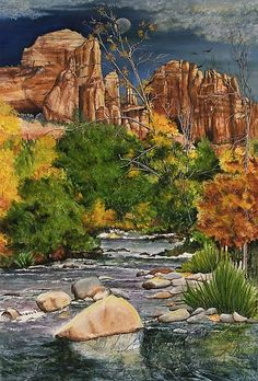 Mary Dove_Sedona's Oak Creek at Cathedral Rock_Mixed Media Watercolor by Mary Dove Watercolor ~ 28 x 22