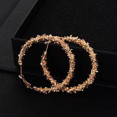 e675b50de Large Bamboo Earrings Fashion Hip-Hop Gold/Silver Ladies Hoop/Hoops-Bling  Circle | eBay