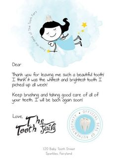 Letter From The Tooth Fairy Kids Pinterest Tooth Fairy Fairy