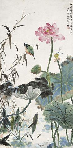 Korean Painting, Japanese Painting, Chinese Painting, Japanese Art, Lotus Painting, Ink Painting, Online Painting, Art Lotus, Art Chinois