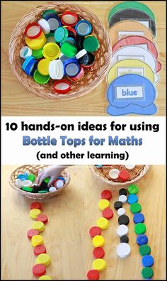 10 ways to use Bottle Top for Maths - Hands-on leraning ideas for exploring ordering and number recognition, colours and patterns, sorting and building, skip counting and sums, place value and stamps. Teaching Activities, Math Resources, Teaching Math, Play Based Learning, Learning Through Play, Maths Eyfs, Numeracy, Early Years Maths, Math Tubs