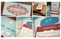 teal and red, wedding invitation suite design, www.heatherf.net