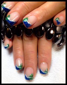 Gel Nails-Green Envy, Royal Blue and hockey sticks (Vancouver Canucks fan)