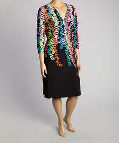 4fec0d8ffba92 Black   Rainbow Floral Surplice Dress - Plus