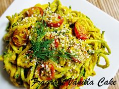 Raw Zucchini Pasta with Creamy Carrot Dill Sauce from Fragrant Vanilla Cake
