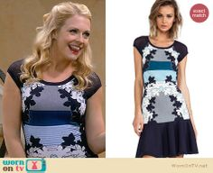 Melissa's blue floral and stripe dress on Melissa and Joey.  Outfit Details: http://wornontv.net/31013/ #MelissaandJoey