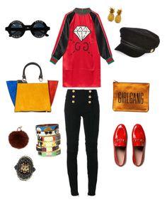 """Sem título #5"" by cacagasp on Polyvore featuring moda, Gucci, Balmain, Alice + Olivia, Chanel, Yves Salomon, River Island e Bijoux de Famille"