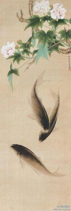 【 朱佩君 作品《芙蓉鲤鱼》】整幅作品工整细致,主题突出,画面简洁,造型能力强,富于节奏感。柔韧有弹性的线条,清新的色调,严谨的造型,描绘了一幅芙蓉盛开,鲤鱼嬉戏,生机盎然,充满情趣的画面。