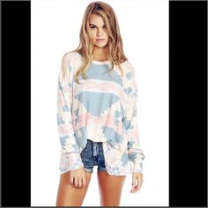 *SALE! Wildfox cozy knit paste blanket top NWT Soft and comfy perfect for lounging or dressing up w shorts, pants, or sweats! Great for spring summer fun! Wildfox Tops Sweatshirts & Hoodies
