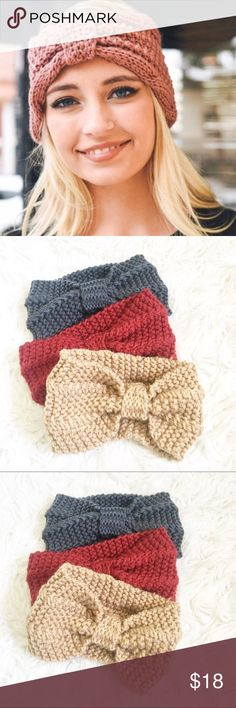 Knitted Bow Fall Headbands In amazing new condition, never worn. So so cute! No trades and no offers on this item please, price is firm. Bundle to save x Boutique Accessories Hair Accessories