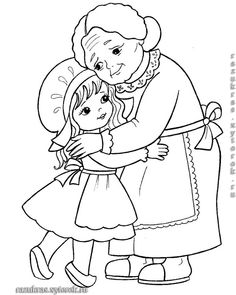 little girl and her grandmother. Coloring page for kids (illustration of Little Red Riding Hood). Camping Coloring Pages, Cute Coloring Pages, Coloring Sheets, Adult Coloring, Coloring Books, Grandparents Day Crafts, Red Riding Hood Party, Digi Stamps, Copics