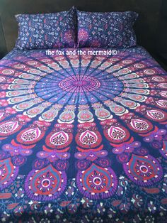 Mandala tapestry quilt cover and by TheFoxAndTheMermaid on Etsy