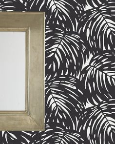 Palm Wallpaper - Serena & Lily Statement wall behind the sink & toilet; also prob behind the washer/dryer Palm Wallpaper, Print Wallpaper, Pattern Wallpaper, Wallpaper Backgrounds, Living Room Mirrors, Living Room Decor, Dining Room, Black And White Wallpaper, Southern Homes
