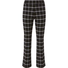 Box Grid Crop Flare Trousers ($375) ❤ liked on Polyvore featuring pants, capris, black, flared cropped pants, high waisted flared pants, high-waist trousers, high waisted flared trousers and zipper pants